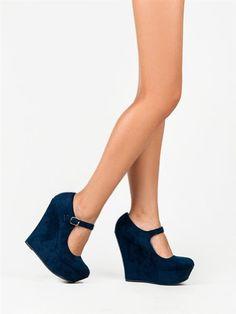 Delicious KAYLA Basic Platform Wedge Heel Mary Jane Pump - Price: $21.56 - $35.00