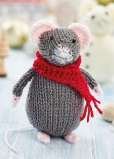 Crochet Toy Patterns Free Knitting Pattern for a Christmas Mouse and Snow Mouse - Free Knitting Pattern for a Christmas Mouse and Snow Mouse. Nicky Fijalkowska's mice besties are sure to bring you joy this Christmas! Free Pattern More Patterns Like This! Animal Knitting Patterns, Christmas Knitting Patterns, Crochet Toys Patterns, Stuffed Animal Patterns, Crochet Christmas, Crochet Mignon, Little Presents, Knitted Animals, Free Knitting