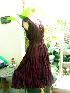Princess Cotton Short Dress  Burgundy/Maroon by fantasyclothes, $45.00