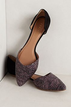 Black and purple d'orsay flats