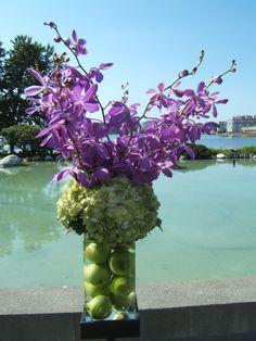 Green wedding ceremony flower arrangement