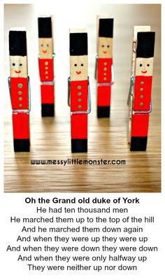 Messy Little Monster: The Grand Old Duke of York nursery rhyme soldier craft for toddlers and preschoolers Christmas Crafts For Kids To Make, Simple Christmas, Kids Christmas, Holiday Crafts, Popsicle Stick Crafts, Craft Stick Crafts, Clothespin Art, Clothes Pegs, Theme Noel