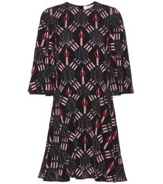 Valentino - Love Blade printed silk dress - Valentino features their new Love Blade print on this mini dress just in time for summer. Crafted in Italy from lightweight silk, this black and pink style will move elegantly with every step you take. We love the how the cornet sleeves compliment the flowy skirt - style yours with chic sandals from day to dark. seen @ www.mytheresa.com