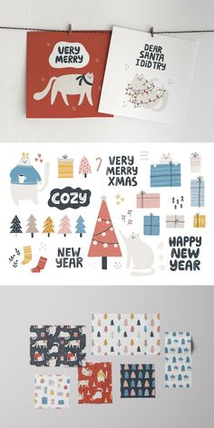 Cute cats, christmas trees, gifts and lettering. All you need to create your own greeting cards and advent calendar. Enjoy! #merrychristmas