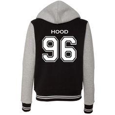 Calum Hood 5 SOS Varsity Ladies Sweatshirt Jacket ($30) ❤ liked on Polyvore featuring outerwear, jackets, tops, hooded jacket and woven jacket