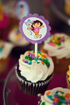 Cute and easy basic cupcakes. Just add a Dora cupcake topper.