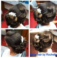 Vintage bridal hair , Bridal Hair, wedding hair  By Rochelle Noone On location bridal stylist Pittsburgh Pa