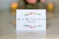 Watercolor Flower Wedding Place Card, Name Cards, Escort Cards, Flower Wreath