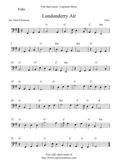 Cello Sheet Music, Trumpet Sheet Music, Free Sheet Music, Londonderry Air, Country Music Playlist, Bassoon, Music Score, D 20, Teaching Music