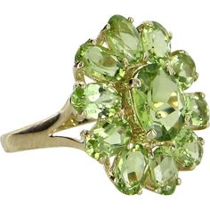 Peridot Oval Cluster Ring Vintage 14 Karat Yellow Gold Estate Fine Jewelry Pre Owned Jewelry Armoire, Jewelry Box, Fine Jewelry, Gold Jewelry, Jewlery, Quartz Jewelry, Purple Jewelry, Crystal Jewelry, Cluster Ring