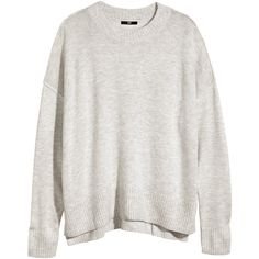 H&M Fine-knit jumper (€7,17) ❤ liked on Polyvore featuring tops, sweaters, jumpers, grey, grey marl, grey top, fine knit sweater, slit top, h&m jumper and grey jumper