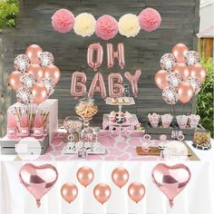 Baby Shower Decoration Set, Rose Gold Theme Baby Shower Decoration With OH BABY Banner Rose Gold Balloon And Tissue Paper Pom Poms Toal For Baby Shower Party Decoration What Are Included – heart style rose gold foil balloon, . Baby Shower Simple, Cute Baby Shower Ideas, Baby Girl Shower Themes, Girl Baby Shower Decorations, Baby Shower Parties, Shower Party, Baby Shower Candy Table, Girl Baby Shower Cakes, Baby Ballon