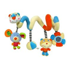Activity Spiral Stroller Toy with Jingle Bell and Mirror. Designed for babies from birth up to 36 months, this plush toy is made to delight babies and stimulate their natural curiosity. Whether playing in his crib, sitting in the high chair, your little one will enjoy hours of interactive play and exploration with this cute toy.  Stimulates Baby's Vision and Auditory Skills When babies are first born, they see in black and white. This is why spiral toy strikes a balance between bright, high…