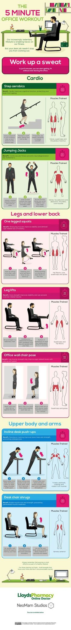 The 5 Minute Office Workout Fitness Infographic - Venngage Infographic Examples Desk Workout, Workout At Work, Workout Challenge, Workout Tips, Workout Fitness, Workout Circuit, Squat Workout, Office Exercise, Office Workouts