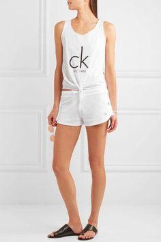 Calvin Klein Beachwear - Knotted Printed Cotton-blend Jersey Tank - White - x small