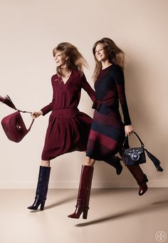 Seventies Chic: Burgundy, navy and a great pair of boots set the tone