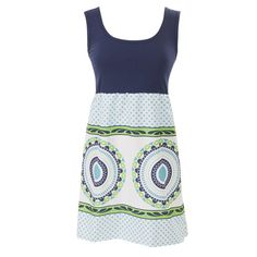 Ladies Custom Navy Teal Lime Geo Tank Dress