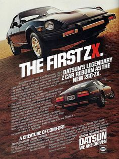 "Vintage Automobile Advertising: 1979 Datsun 280-ZX, ""Datsun's Legendary Z Car Reborn as the New 280-ZX"", 1979 Orioles Baseball Official Program."