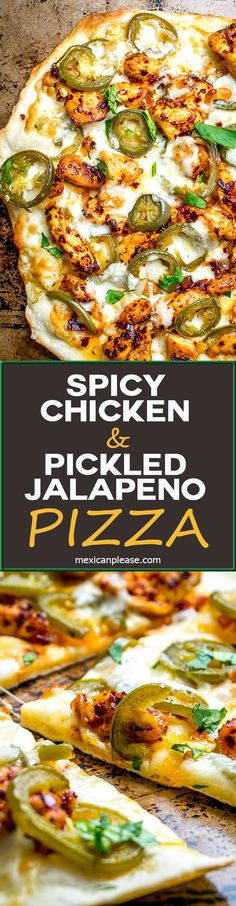 This Spicy Chicken and Pickled Jalapeno Pizza is the perfect example of Mexican cooking ingredients influencing just about everything in my kitchen. A super easy and delicious pizza recipe with no special pizza gear needed! mexicanplease.com