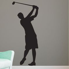 Guy Golfer Silhouette - Vinyl Wall Art Decal for Homes, Kids Rooms, Nurseries, Preschools, Kindergartens, Elementary Schools, Middle Schools, High Schools, Universities, Colleges