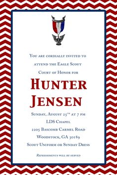 Eagle Scout Court Of Honor Invitations Dedicated Scout Blue Red