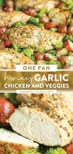 Baked Chicken And Veggies, Healthy Chicken Dinner, Baked Chicken Breast, Honey Garlic Chicken, Baked Chicken Recipes, Chicken Breasts, One Pan Chicken, Easy Dinner Recipes, Dinner Ideas
