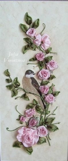 Silk Ribbon Embroidery Flowers Ribbon Work roses with bird Nakış kurdeleler Embroidery Designs, Ribbon Embroidery Tutorial, Silk Ribbon Embroidery, Beaded Embroidery, Hand Embroidery, Embroidery Stitches, Leather Embroidery, Embroidery Software, Ribbon Art