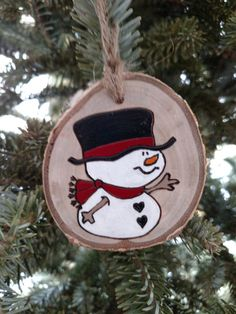 Snowman Wood Burned Ornament white birch wood Christmas