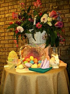 Beautiful idea for an Easter table - Burlap table cloth, teal nd lilac colored napkins. Cute little touch for the family!   All decor pictured provided by North Georgia Party Rentals - Complete set up provided by All Pro Party Consultants