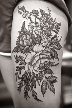 Floral thigh piece by Alice Carrier at Wonderland Tattoo in Portland, OR. http://wonderlandtattoospdx.tumblr.com