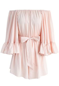 For the Frill of it Off-shoulder Playsuit in Pink - New Arrivals - Retro, Indie and Unique Fashion