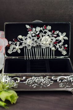 red crystal hair comb red rhinestone hair comb red by MarinaUA