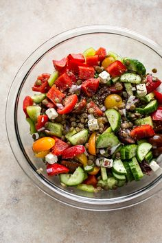 This Mediterranean lentil salad is easy and healthy! It's full of vegetables and plenty of feta. You'll love the tangy vinaigrette dressing. This salad is perfect for a summer lunch! Lentil Salad Recipes, Healthy Salad Recipes, Healthy Foods To Eat, Ceviche, Enchiladas, Mediterranean Salad Recipe, Mediterranean Food, Summer Vegetable Recipes, Guacamole