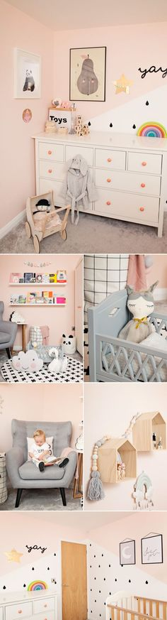 Book shelves and Reading Corner | A pastel and monochrome nursery | White & Natural Cot Storytime | Playroom | Playroom decor | Playroom inspiration | Toy storage for nursery | Panda Storage Bag | Grey Dolls Cot | Wooden House Shelves | Monochrome Wall Stickers | kids interiors inspiration | Grey and pink bedroom inspiration