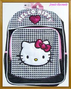 "$27  Sanrio Hello Kitty 16"" Large Black Backpack School Book Bag Girls NWT | eBay"