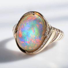 Kat Florence bespoke Opal and Diamond ring
