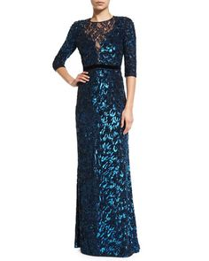 3/4-Sleeve+Sequined+Gown,+Petrol+by+Jenny+Packham+at+Neiman+Marcus.