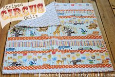 Striped Circus Quilt Tutorial, hand quilting and binding