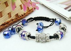 Free Shipping Fashion Shamballa Bracelets, with Alloy Rhinestone Beads, Glass Beads and Nylon Cord, SkyBlue, Inner Diameter: 45mm