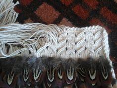 Robin Weaves Korowai: Finishing ideas for commission Flax Weaving, Weaving Art, Maori Designs, Maori Art, Feather Crafts, Feather Pattern, Weaving Techniques, Merino Wool Blanket, Wearable Art