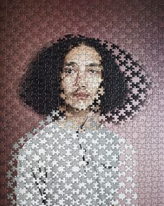In her latest series, German photographer Alma Haser combines the portraits of several pairs of twins by literally puzzling their images together. Haser first photographs each twin separately, then prints their corresponding photograph onto a 500 or 1000-piece puzzle. Finally, Haser painstakingly sw
