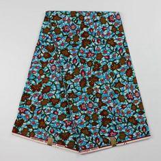Multicoloured Kitenge Fabrics, Light Blue African Fabrics 100% Cotton Block Wax…