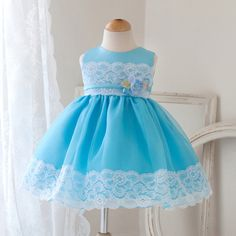 8743b840b Turquoise Paisley Lace Infant Gown Turquoise Flower Girl Dress, Baby Easter  Outfit, Baby Girl