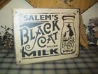 ~PRIMITIVE HALLOWEEN SIGN~SALEM'S BLACK BRAND CAT MILK~