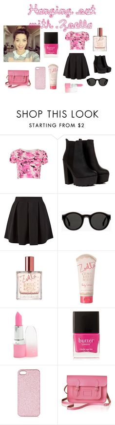 """Hanging out with zoella"" by ahenderson12 ❤ liked on Polyvore featuring Blue Inc Woman, Cameo Rose, Mykita, Butter London, Topshop, The Cambridge Satchel Company, Zoella, Youtuber and ZoeSugg"
