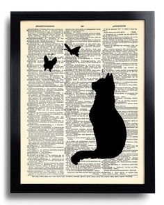 Silhouette Cat Butterfly Art Print Vintage Dictionary Cat Artwork, Cat Wall Decor, Anniversary Gift, Cat Painting, Cat Poster Art 275 - paint and art Book Page Art, Book Art, Silhouette Chat, Journal D'art, Art Papillon, Newspaper Art, Art Diy, Cat Posters, Kunst Poster