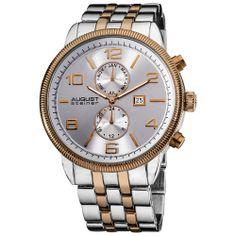 August Steiner Men's Swiss Quartz Coin-edge Bezel Bracelet Watch - Silver/Rose   Overstock.com Shopping - Big Discounts on August Steiner Me...