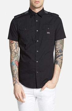 DIESEL® 'Koir' Extra Trim Fit Short Sleeve Military Shirt available at #Nordstrom