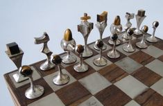 Art Deco silver and moonstone chess set.