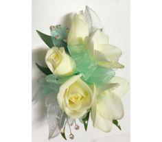 White Flowers With Aqua Green Wrist Corsage